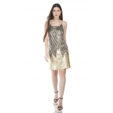Golden Geometric Embellished Dress